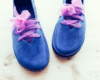 Ladies shoes, CLARA, Handmade Leather Vintage Inspired Shoes by Fairysteps in Lapis blue