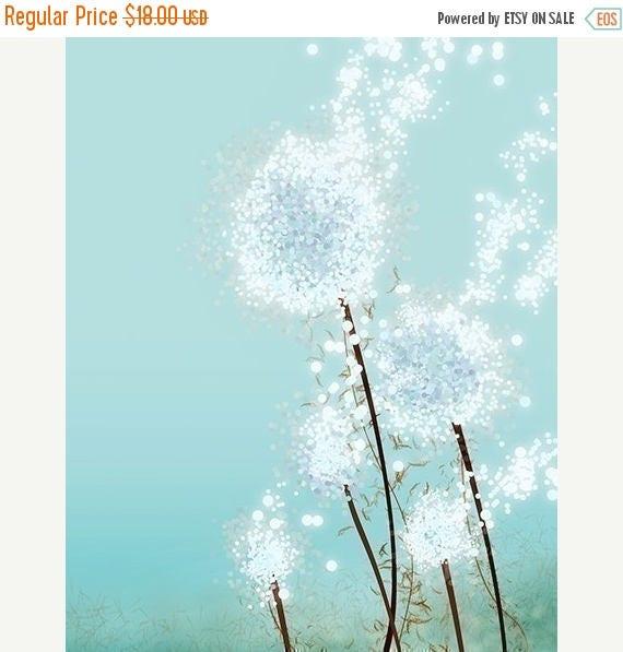 Mothers Day Sale Dandelion Art - Perennial Moment (aqua) - 8x10 Print - Light Blue