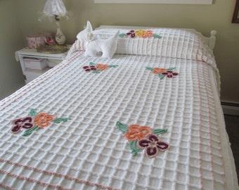 Vintage Chenille Bedspread Purple Orange Sherbet Floral 91 x 104 Full Queen - Shabby Cottage Boudoir