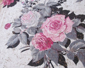 """Pink Cabbage Roses Barkcloth Drapes Panels Vintage Pair Nubby NOS 88"""" long Shabby Cottage Chic"""