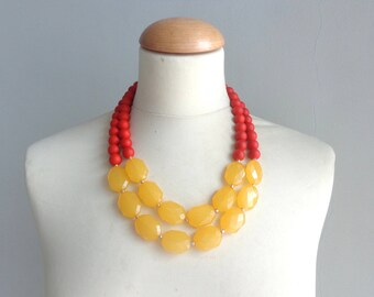 chunky yellow orange necklace double strand