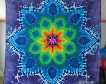 Tie dye mandala tapestry, tye dyed by GratefulDan, tapestry dimensions (53 inches x 55 inches), tie dyed mandala, mandala tapesties