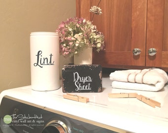 Lint & Dryer Sheet Decals - Laundry Room Decor - Vinyl Lettering - Vinyl Decals - Removeable - Washer Dryer Decor - Wall Sticker Decal 1972