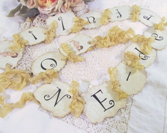 Onederful Birthday Banner Vintage Baby Garland Bunting - Choose Size & Ribbons - Small Medium Large - First 1st Birthday Baby Birthday