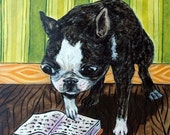 30% off Boston Terrier Reading Dog Art Tile Coaster