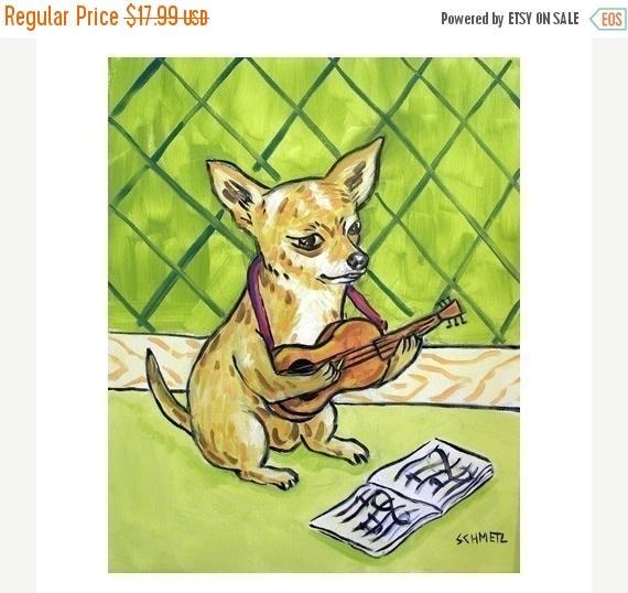 20% off SALE Chihuahua Playing the Guitar Dog Art Print 11x14 JSCHMETZ modern abstract folk pop art american ART