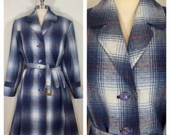 20% Off Sale 40s Style Vintage Activ Blue Plaid Princess Seam Belted Wool Coat, Size XL to Plus Size