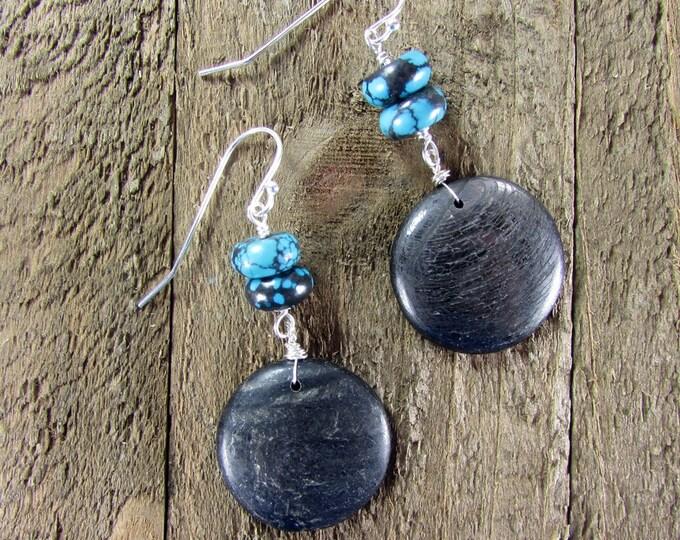 Turquoise & Tektite Earrings, Meteorite Earrings, Black Earrings, Mystic Earrings, Boho Earrings, Raw Minerals Earrings