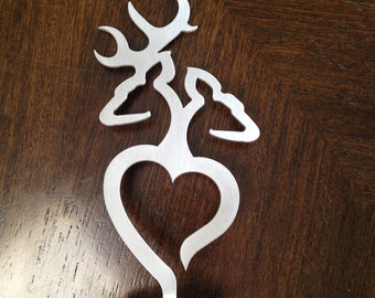 Buck and Doe Wedding cake topper- stainless steel.