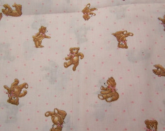tiny pink hearts and bears fabric