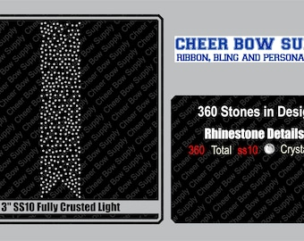 """3"""" Cheer Bow SS10 Light Crusted Rhinestone Strip 3"""" X 13"""" INSTANT FILE DOWNLOAD"""