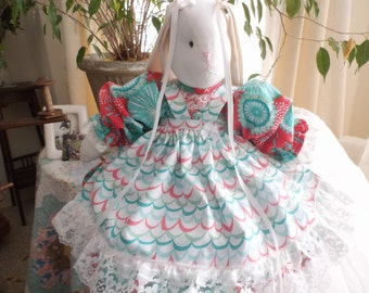 Beautiful Teal  /turquoise  and   Dark  Rose Stuffed Bunny Rabbit,, handmade