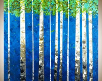 Birch tree painting large square art wall art wall decor painting on canvas green blue white black home office wall hanging by qiqigallery