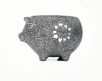 Painted Piggy Planter: Hand Painted dots silver dots on black Vintage style Pig Planter dot Painting