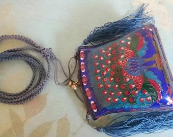Metal enamel Peacock mini clutch purse
