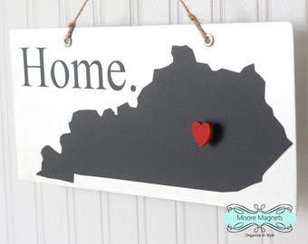 Kentucky State Silhouette Home Sign Magnet board with Chalkboard State and Red Heart Magnet