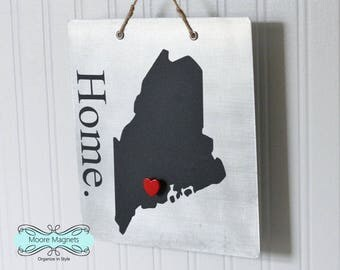 Maine Home Sign Magnet board with Chalkboard State and Red Heart Magnet