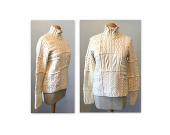 Vintage 80s Alpaca Blend Fishermans Sweater S M by Ralph Lauren in a patchwork cable knit