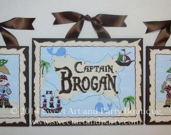 Pirate, canvas name sign, pirate wall art, Pirate nursery, custom, Personalized, custom wall art, pirate decor, pirate painting, pirate art