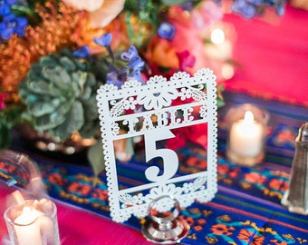 Table Numbers (22 pieces) Mini Flags CARD STOCK Papel Picado Mini Flags (5x7)