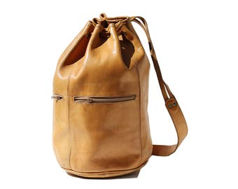 Vintage Butterscotch Tan Thick Leather Bucket Sling Backpack