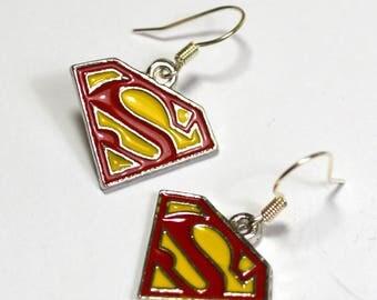 Superman Supergirl Logo Silver Nickel Free Geeky Dangle Earrings