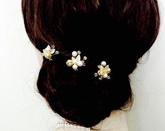 Gold bridal pins, gold bridal hairpins, wedding hairpins, gold leaf pins, wedding hair accessories, pearl bridal pins, pearl hair pins