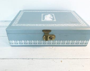 Vintage Blue and White Large Jewelry Box with Removable Tray by Baronet- Made in Sweden