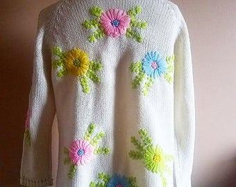 1960's Bright Floral Cardigan
