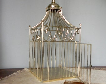 Solid Brass pagoda style birdcage bird cage for your wedding cards - hanging bird cage with chain to hang it heart designs on the sides