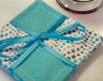 Mug Rug SET of 4, Turquoise Stars, Fabric Coasters, Handmade, Hostess Gift, FREE Shipping in US