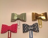 Decorative Bow Paperclip, Free US Shipping, Pink, Blue, Gold