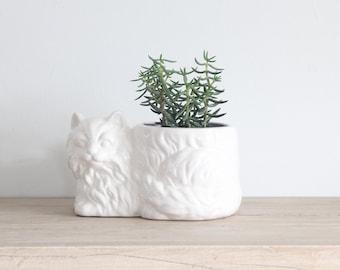 White Ceramic Cat Planter