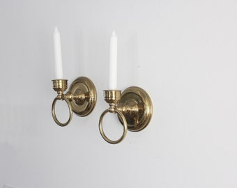 Brass Wall Ring Candle Sconces, Pair