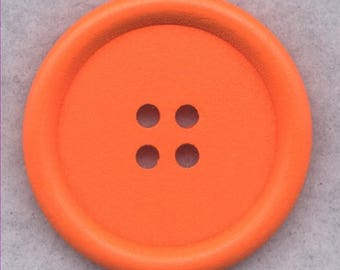 SALE Orange Wood Buttons Wooden Buttons 40mm (1 5/8 inch) Set of 2 /BT527E