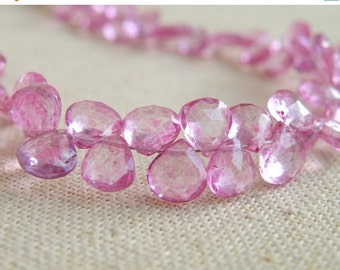 Black Friday Sale Pink Topaz Gemstone Briolette Mystic Faceted Heart 6.5 to 7mm 20 beads