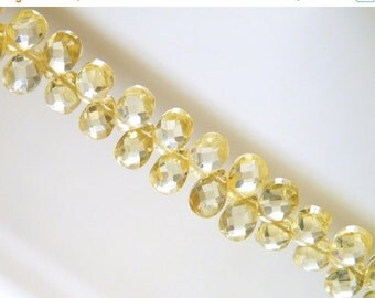 Final 51% off Sale Lemon Yellow Cubic Zirconia CZ Faceted Pear Briolette Top drilled 6mm 43 beads