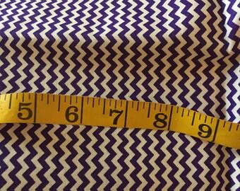 Over One Yard of Purple and White Mini Chevron Fabric