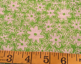 One Yard of Green Flowers Seersucker Fabric