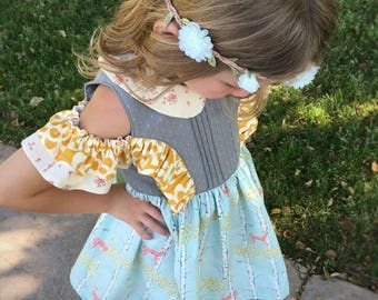 The Chloe Dress and Romper PDF Sewing Pattern Size 6 month - 12 year Girls Toddler Tween