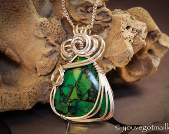 Green Turquoise Wire Wrapped in Silver Filled Wire