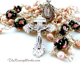 Miraculous Medal Rosary Beads Pink Bohemian Black Handmade Lampwork Roses Flowers Wire Wrapped Unbreakable Traditional Catholic Five Decade