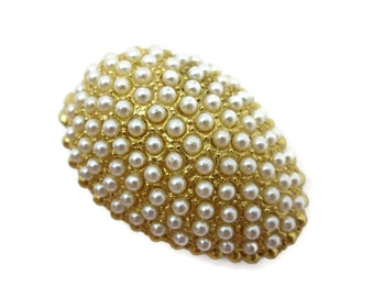 Pearl Egg Box - Gold Tone Metal, Faux Pearls, Trinket Box