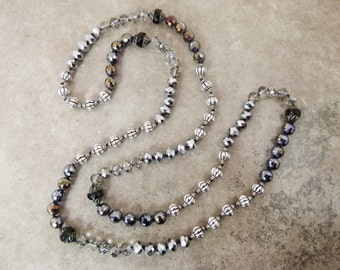 "Long Hand-knotted Necklace with Metallic and Glass Beads ""A Fine Fat Tuesday' - Item 1591"