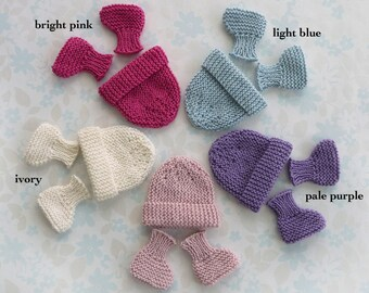 MICRO PREEMIE hat and booties set - 24 to 30 weeks, up to 3 lb -  5 colour choices (bright pink, light blue, pale purple, pale pink, ivory)