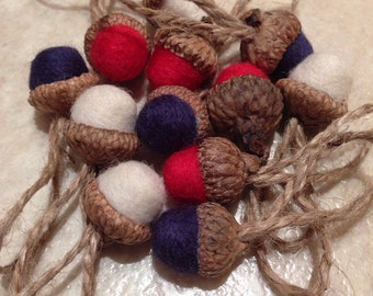 Needle felted acorn ornaments in red, white and blue with jute hangers