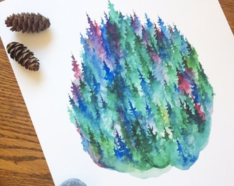 Mulberry Pines - Watercolor Art Print - 8x10 - pine trees, forest, purple, evening, treeline, nature, north woods