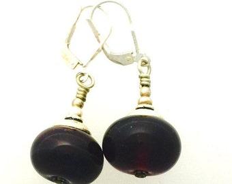 On Sale Amethyst Lamp Work Glass Earrings by Kate Drew-Wilkinson