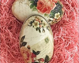 England Tin Metal Easter Egg Box Rose Floral 4-1/4 Inch Nostalgic Craft Storage  TEG 46
