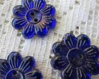 6 Vintage 1930s Czech Glass Buttons Handmade Cobalt And Gold Glass Flowers Czechoslovakia  #43